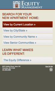 Equity management mobile site
