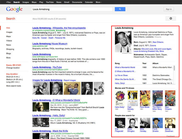 Louis Armstrong Google Search Results