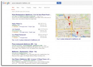 Pizza restaurant google search results