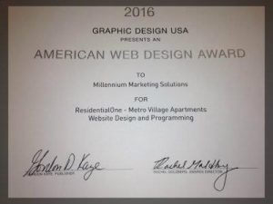 American web design award for residentialOne- Metro village apartments website design and programming