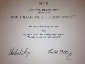 American web design award to MMS for ResidentialOne- Metro Village apartments website design and programming