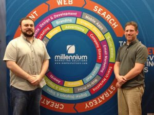 Millennium marking 360 backdrop with 2 employees