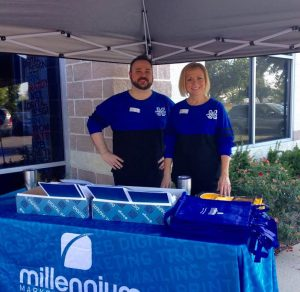Millennium trade show with signage