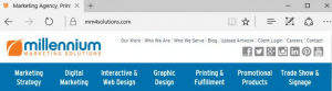 Millennium marketing solution website toolbar snapshot