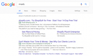 Google search for shopify screenshot