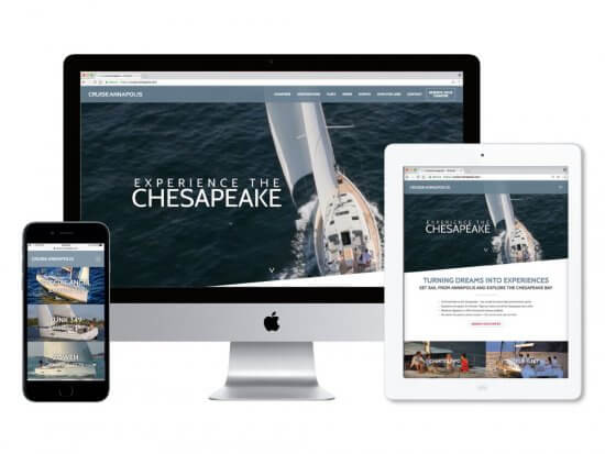Cruise Annapolis website dsiplayed on multiple screens