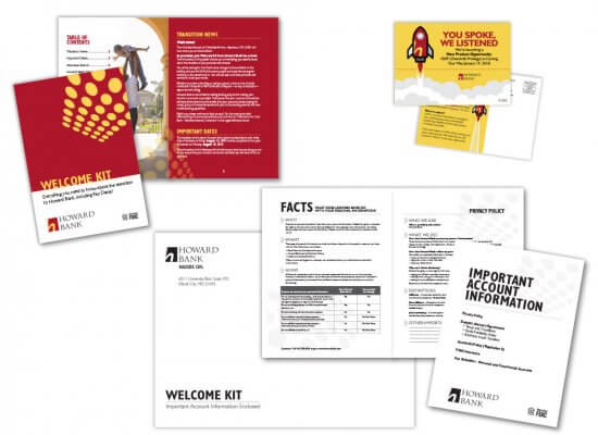 Howard Bank stationery and welcome kit