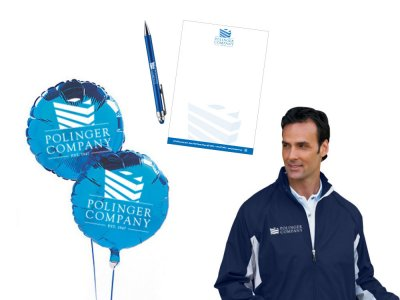 Polinger company stationery, balloons, pen, and jacket