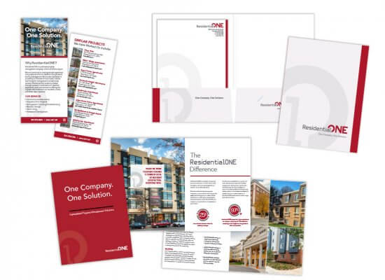 Residential One stationery and flyers
