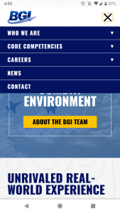 Our client BGI LLC's mobile website page on website
