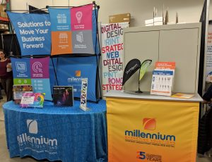 Millennium Trade Show Merchandise and signage
