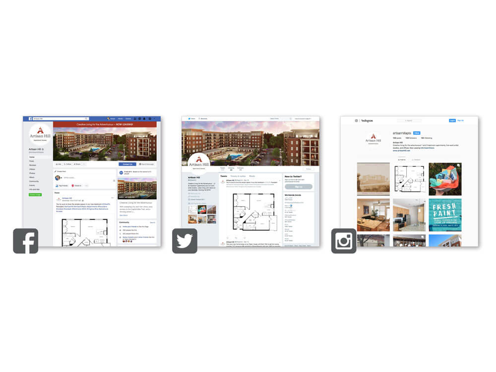 Artisan Hill Social media posts as well as floor plan displays