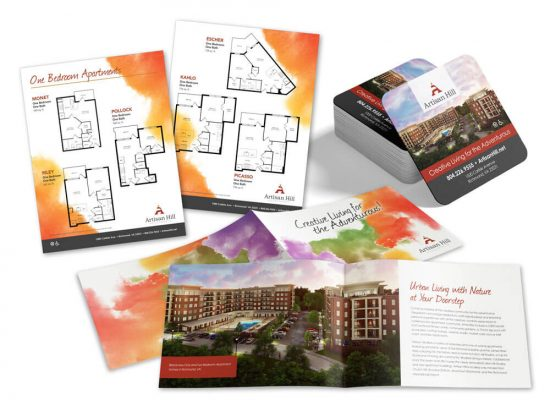 Artisan Hill Brochure, inserts, and coasters