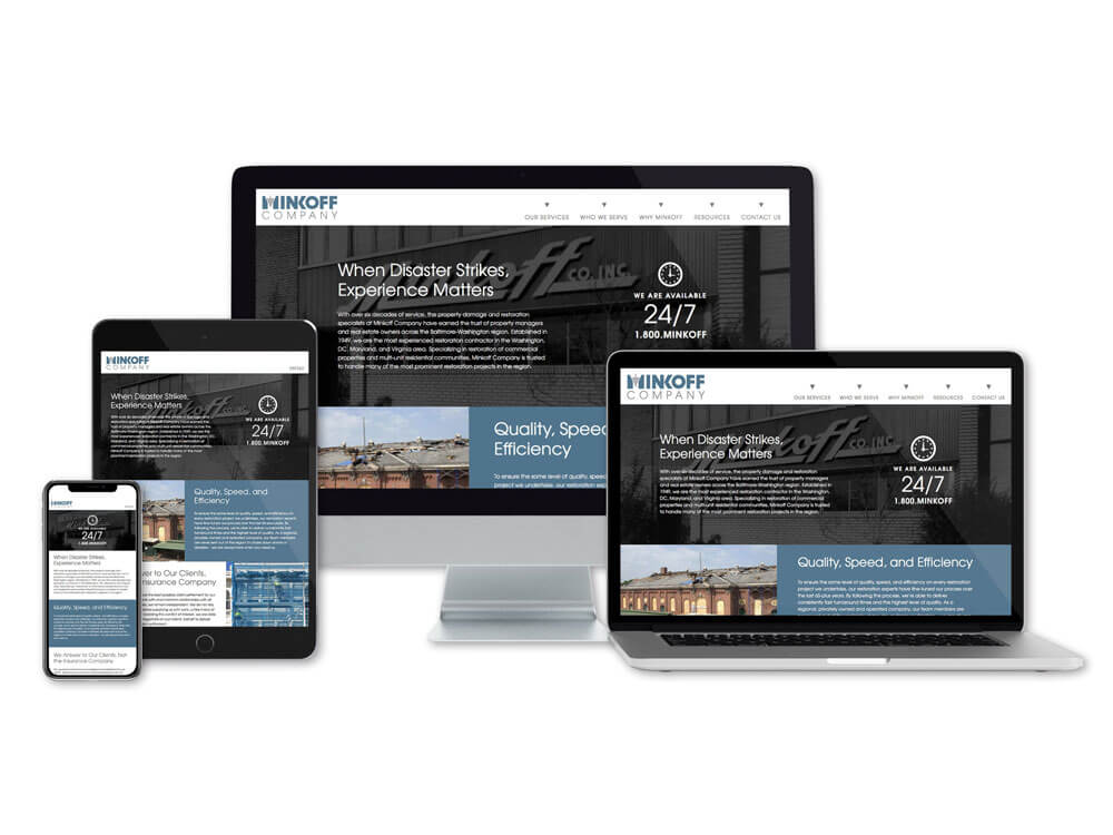 Minkoff company website home page on multiple devices