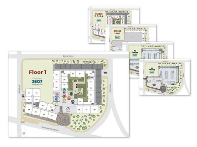 Studio 3807 Signage Maps and floor plans