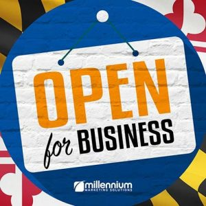 """An """"Open for Business"""" sign"""