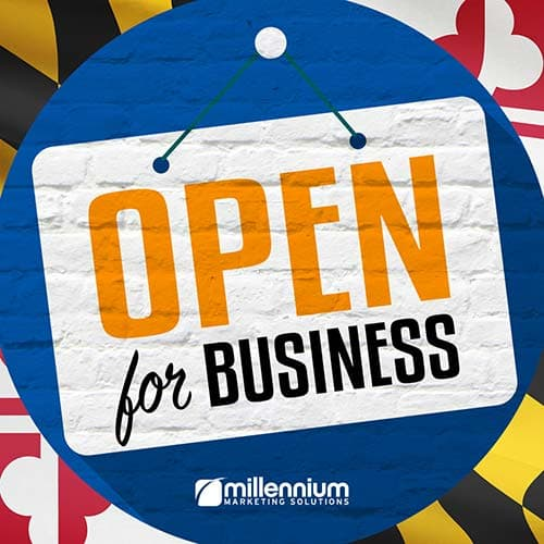 "An ""Open for Business"" sign"