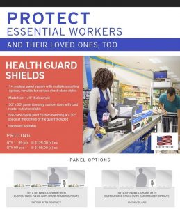 Modular Acrylic Clear Shields to protect Employees