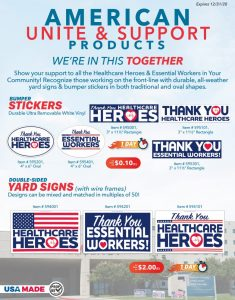 Support Essential Workers Bumper Stickers and Yard Signs